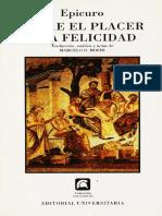 Epicuro - Sobre La Felicidad y El Placer