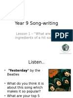 Year 9 Song-writing Lesson 1