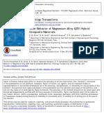 Wear Behavior of Magnesium Alloy AZ91 Hybrid Composite Materials