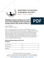 Wellington Upground Reservoir and Findley State Park Field Trip Sunday, March 13, 2016 Report