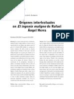 Orígenes intertextuales en El ingenio maligno de Rafael Ángel Herra