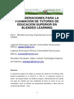 Consideraciones Para La Formacion de Tutores de Educacion Superior en Blended Learning