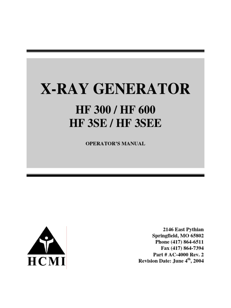 Hf Xray Generator Complete Manual and Schematics Rev 0604200 ... X Ray Generator Schematic on
