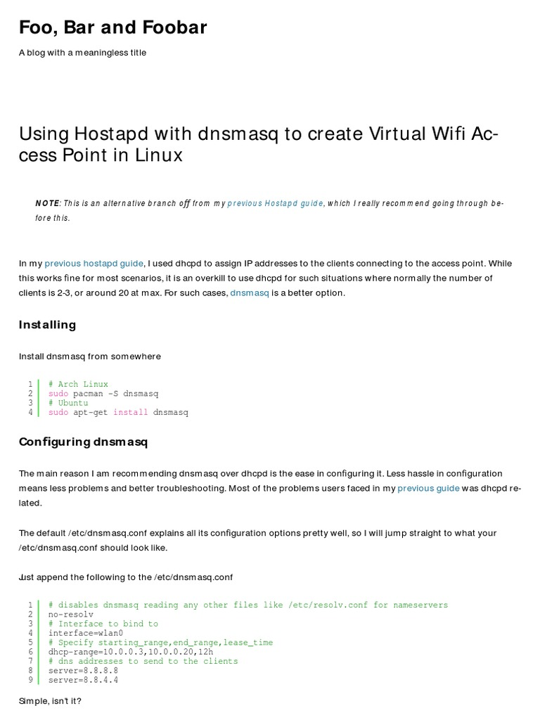 Using Hostapd With Dnsmasq to Create Virtual Wifi Access Point in
