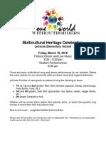 Multicultural Heritage Potluck 2016 flyer