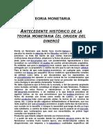 Antecedente Histórico de La Teoría Monetaria