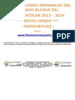 Planeación Bimestre 2 de Sexto año Materia Matemáticas