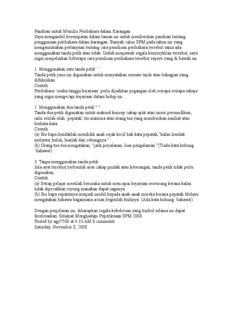 Siri 70 Menulis Peribahasa Dalam Karangan