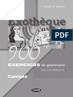 Exotheque 900 Exercices de Grammaire Niveau Intermediaire Corriges