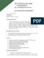 Strategic Marketing Management Outline