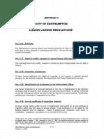 Current Easthampton liquor license regulations