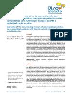 Avaliação Da Característica de Personalização de Medicamentos Magistrais