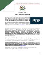 Job opportunities at Public Service Commission - Uganda