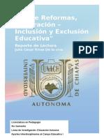 Sobre Reformas Integración Inclusión y Exclusión Educativa