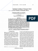 Assessment of Insulation Condition of Generator Stator Bars Based on Velocity of Ultrasonic Waves