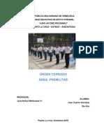Informe de Premilitar - Orden Cerrado