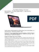 Apple Macbook Pro Mjlq2id-A - Ganti Me293id-A
