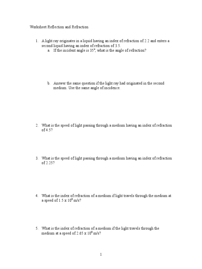 Worksheet Reflection And Refraction
