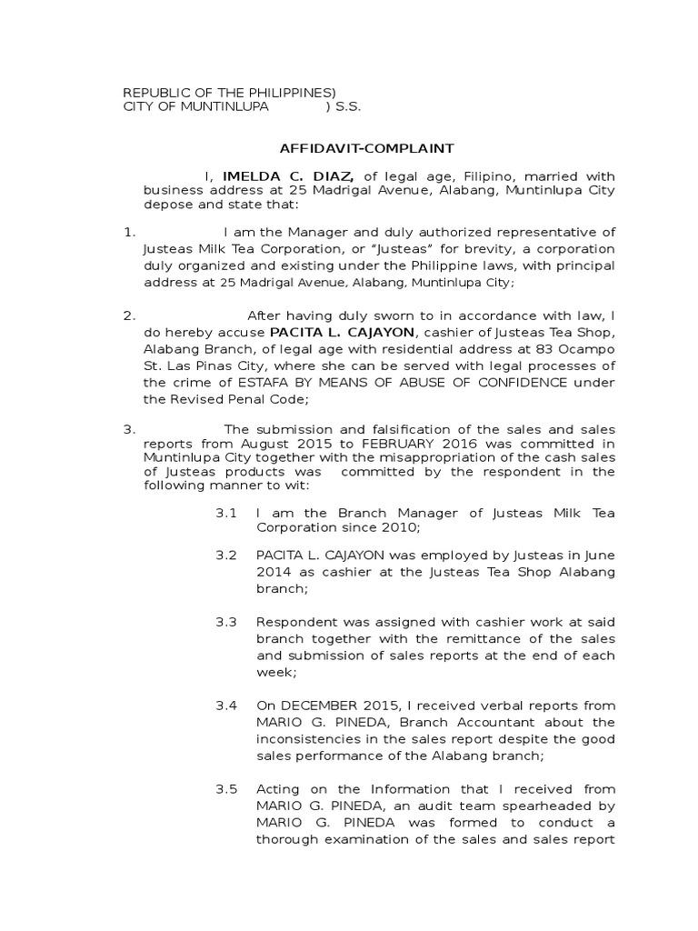 Sample Complaint Affidavit for Estafa Case – Example of a Sworn Affidavit