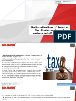 Rationalization of Service Tax Abatements and Various Relief Measures