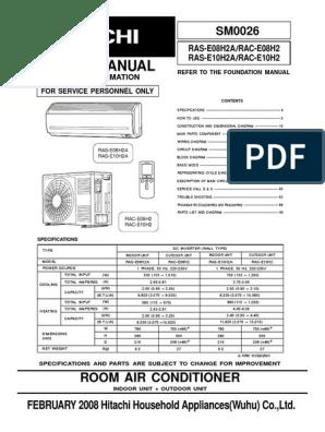 HITACHI RAC-E08H2_RAC-E10H2_RAS-E08H2A_RAS-E10h2A pdf | Hvac | Air
