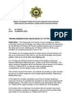 Saps Statement - Pravin Gordan's No-knowledge of Letter is Misleading