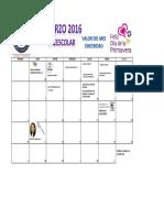 Calendario Marzo 2016 Preescolar