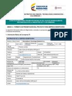 Anexo 2 - Formato de Presentación Del Proyecto Empresa Beneficiaria