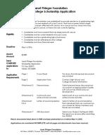 2016 JPF Scholarship Application