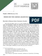 When Did the Greeks Abandon Aï Khanoum