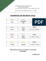 Horario de Recreo 2013