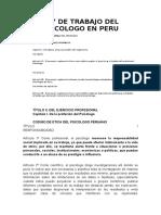 Ley de Trabajo Del Psicologo en Peru
