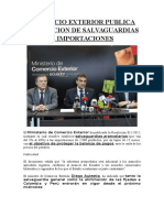 Comercio Exterior Publica Resolucion de Salvaguardias a Importaciones