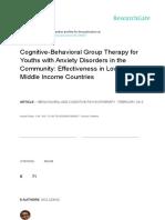 Terapi Kelompok Perilaku Kognitif untuk Pemuda dengan Gangguan Kecemasan Di Masyarakat