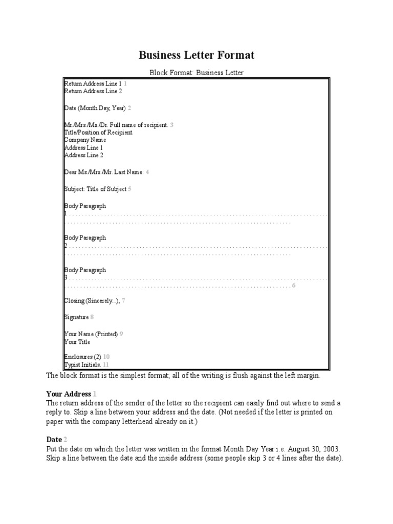 Business Letter Format Written Communication Text