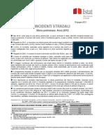 Incidenti Stradali (Stima Preliminare) - 19-Giu-2013 - Testo Integrale