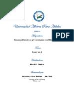 Tarea 1, Recursos Didacticos y Tecnologico en El Nivel Basico