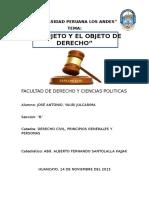 El Sujeto de Derecho y El Objeto de Derecho