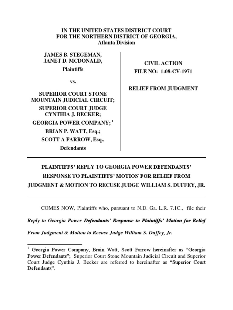 Reply to GA Power Rule 60(b)(2),(3),(4),(6)   Summary Judgment ...