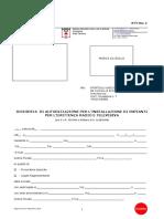 Richiesta di autorizzazione  per l'installazione di impianti per l'emittenza radio e televisiva
