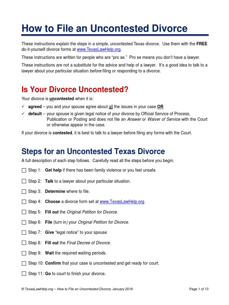 Div Instructions Final Pdf Service Of Process Divorce