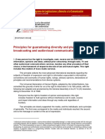 Principles for guaranteeing diversity and pluralism in broadcasting and audiovisual communication services