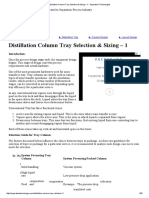 Distillation Column Tray Selection & Sizing – 1 - Separation Technologies