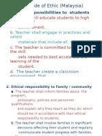 Malaysia Professionalism Teacher Code of Ethics