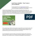 Sistemas de Trading de Forex rentables - Top 5 cosas a buscar en el comercio de Software