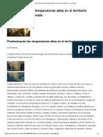 Predominarán Las Temperaturas Altas en El Territorio Nacional — La Jornada