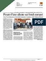 Pesaro-Fano alleate sui Fondi Europei - Il Resto del Carlino del 16 marzo 2016