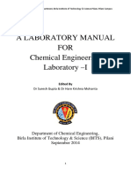 Lab manual for various experiments in chemical engineering