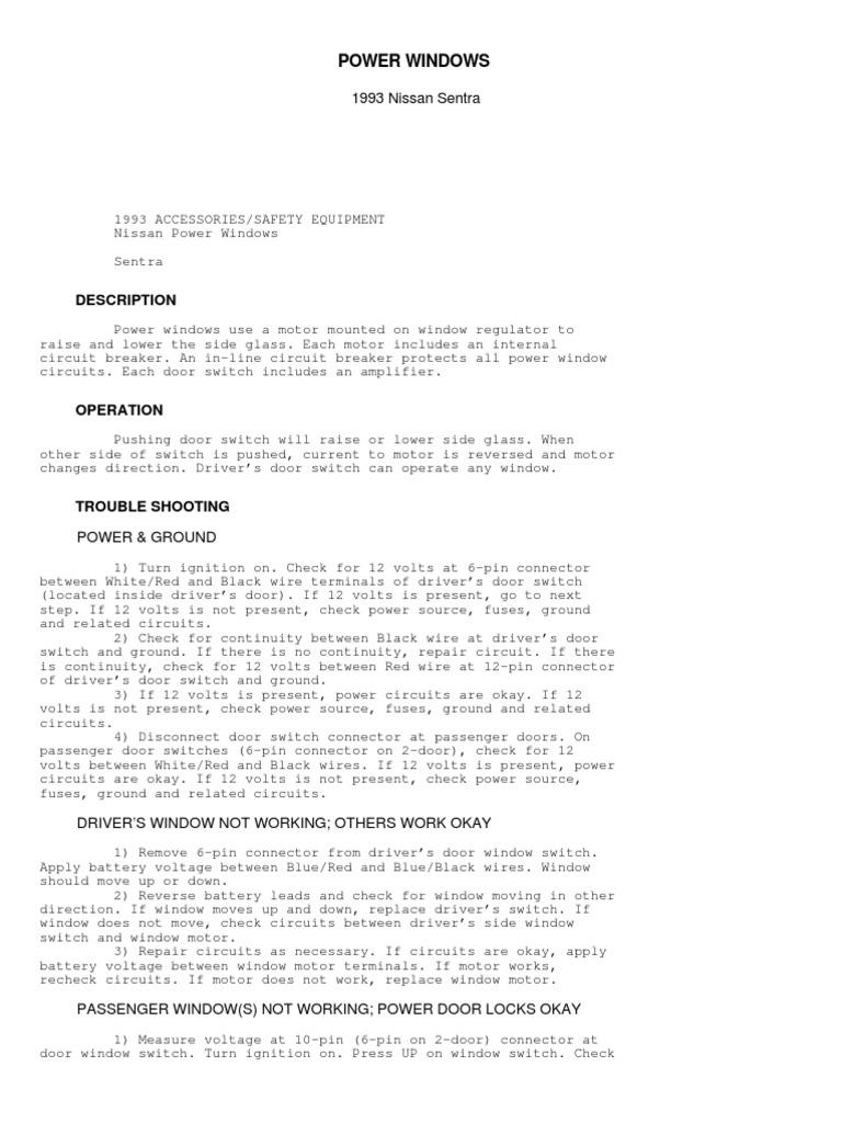 Nissan Sentra Service Manual: Rear power window motor