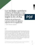 Las Medidas Cautelares Contra El Estadoos Según La Ley 26.854